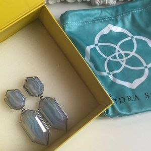 Rare Kendra Scott Perla Blue lace agate earrings